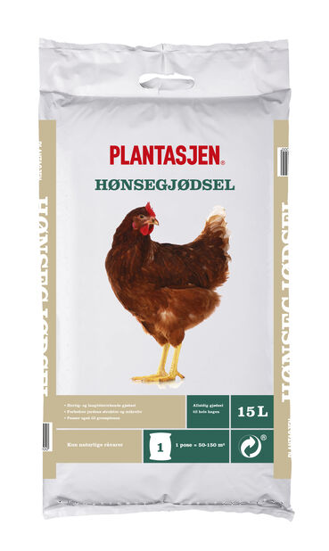 Gjødsel hønsegjødsel, 15 L, Flere farger