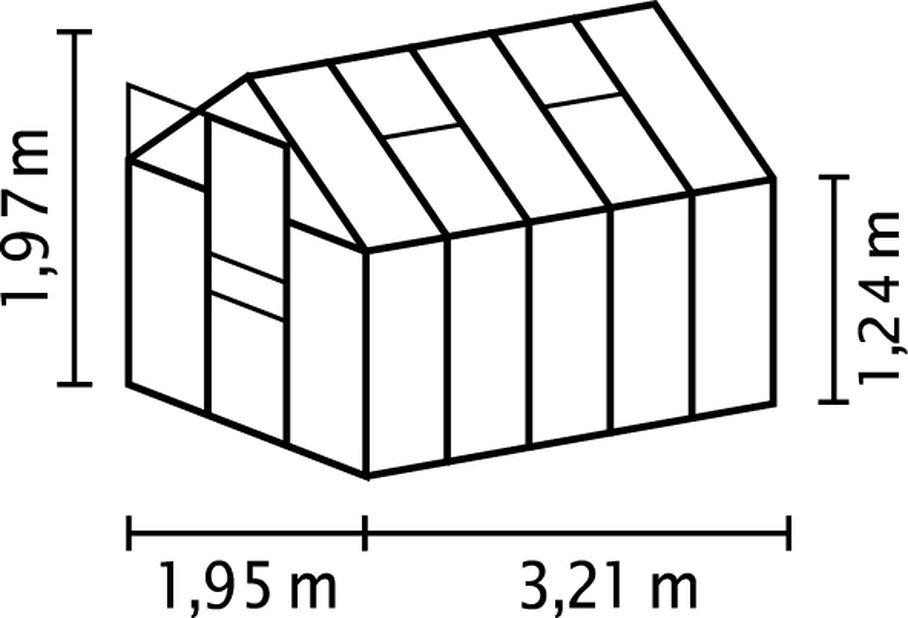 Drivhus Venus med polykarbonat, 6.2 m2, Grå