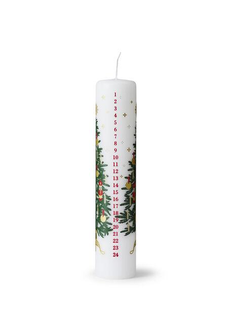 Kalenderlys, Høyde 25 cm, Hvit
