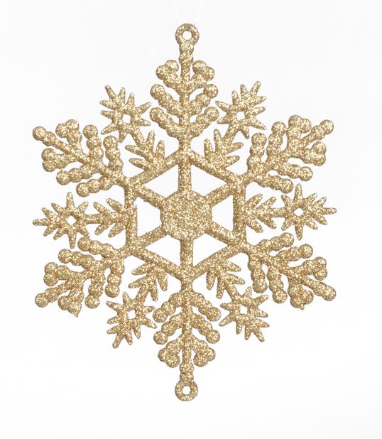 Juletrepynt Snøfnugg 6 pk, Ø11 cm, Gull