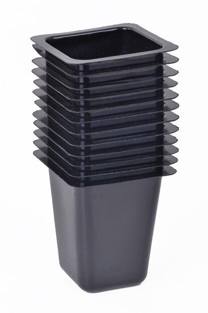 Plastpotte firkantet, 12-pk., Lengde 4.5 cm, Svart