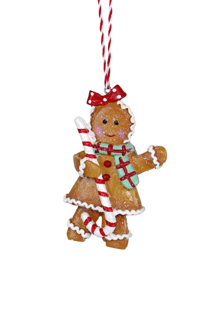 Julepynt pepperkakejente, Høyde 10 cm, Gul