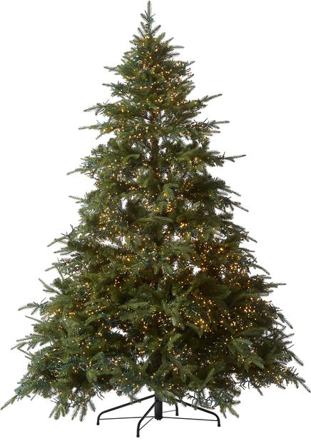 Kunstig juletre Glittertind med lys, Høyde 210 cm, Grønn