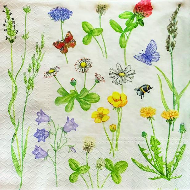 Servietter blomster, Bredde 33 cm, Hvit