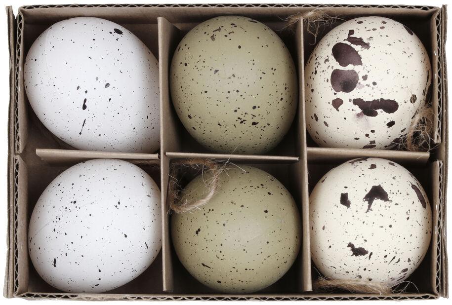 Påskepynt egg til å henge i ris, Høyde 5 cm, Flerfarget
