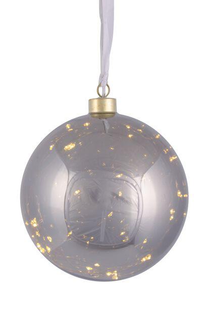 Glasskule med LED-belysning, Ø15 cm, Grå