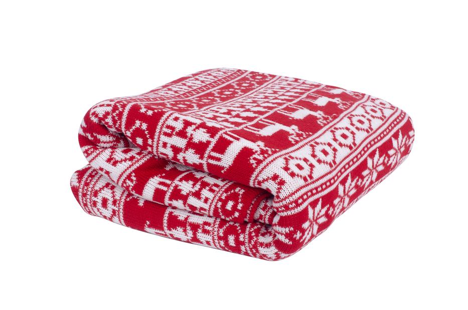 Julepledd, Lengde 120 cm, Rød