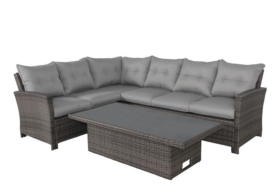 Loungesett Paloma, justerbart, 6 sitteplatser, Grå