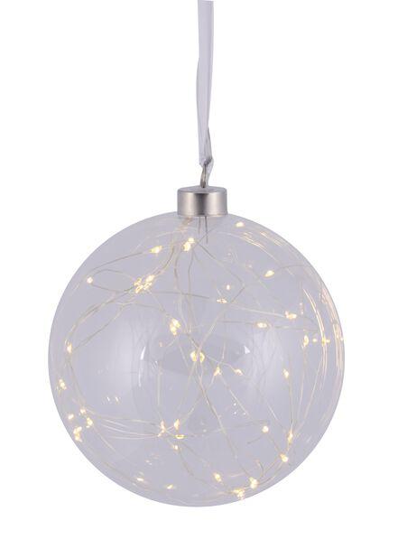 Glasskule med LED-belysning, Ø15 cm, Transparent