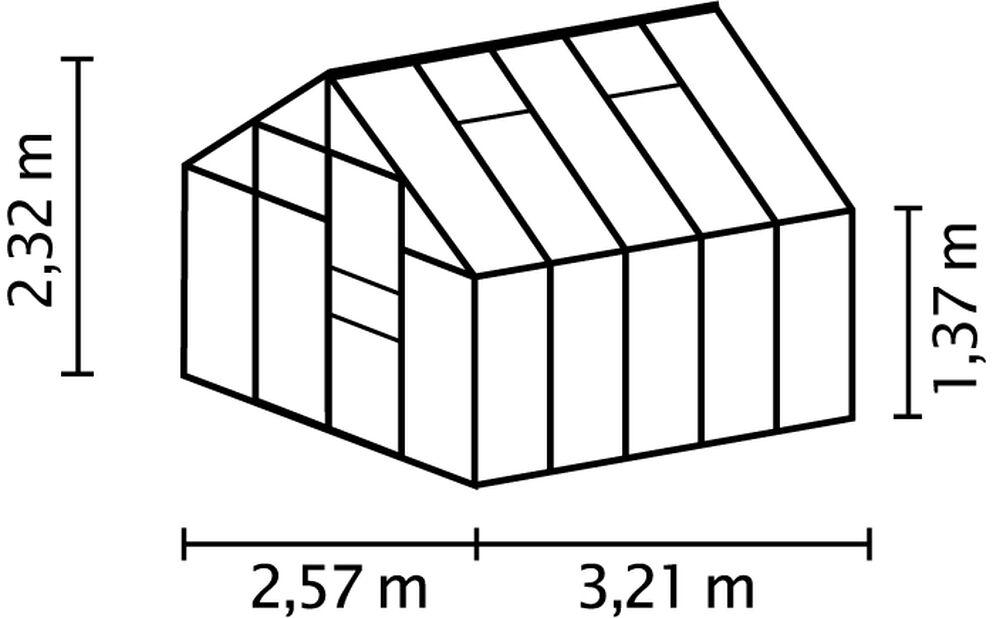 Drivhus Merkur 8300, 8.3 m2, Grå