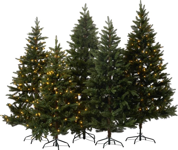 Kunstig juletre Hurdal med lys, Høyde 210 cm, Grønn