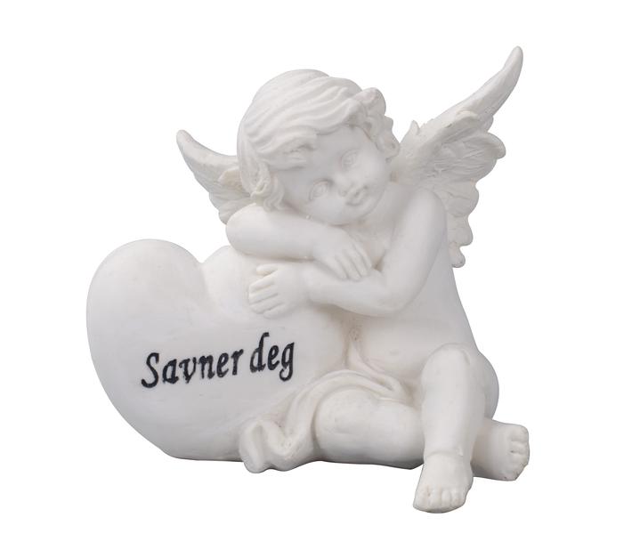 Sittende engel med hjerte, Høyde 9 cm, Hvit