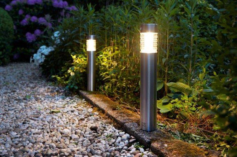 Solcelledrevet lysarmatur Tacoma, Høyde 38 cm, Sølv