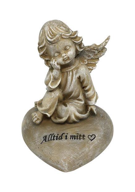Engel 'Alltid i mitt hjerte', Høyde 12 cm, Grå
