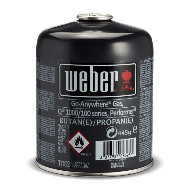 Engangsgasssflaske Weber, 445 g, Flerfarget