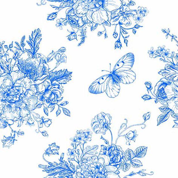 Servietter sommerfugl og blomster, Bredde 33 cm, Blå