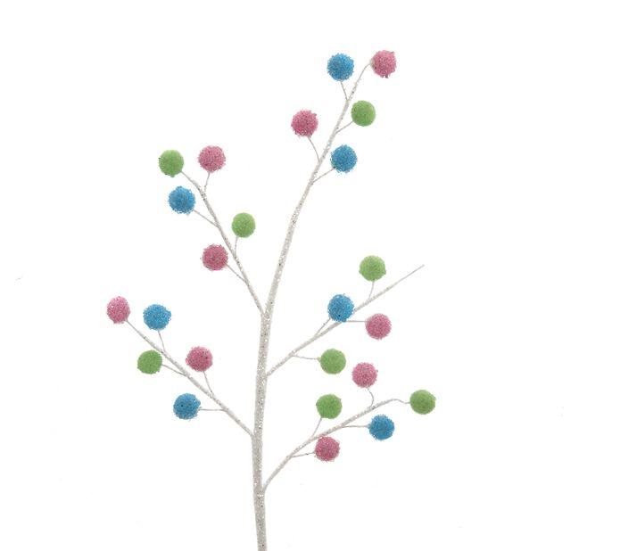 Juledekorasjon Kvist med baller, Høyde 9 cm, Flerfarget