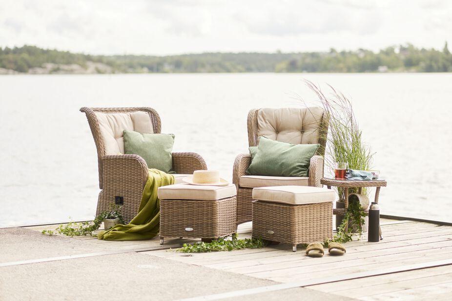 Sofagruppe Lotus Duo med reclinerfunksjon, 2 sitteplatser, Beige