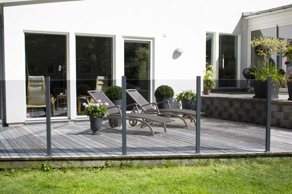Glass till Terrasserekkverk, Høyde 100 cm, Transparent