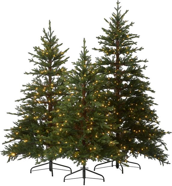Kunstig juletre Rondane med lys, Høyde 210 cm, Grønn