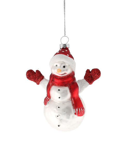 Juletrepynt snømann, Høyde 10 cm, Hvit