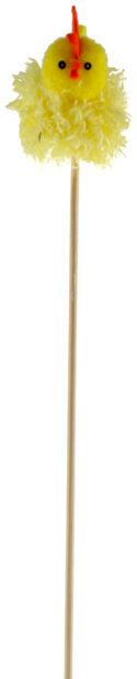 Påskepynt blomsterpinne påskekylling, Lengde 36 cm, Gul