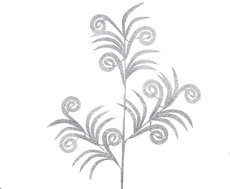 Juledekorasjon Glitterkvist, Høyde 10 cm, Hvit