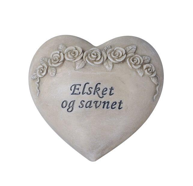 Hjerte 'Elsket og savnet', Lengde 13 cm, Grå