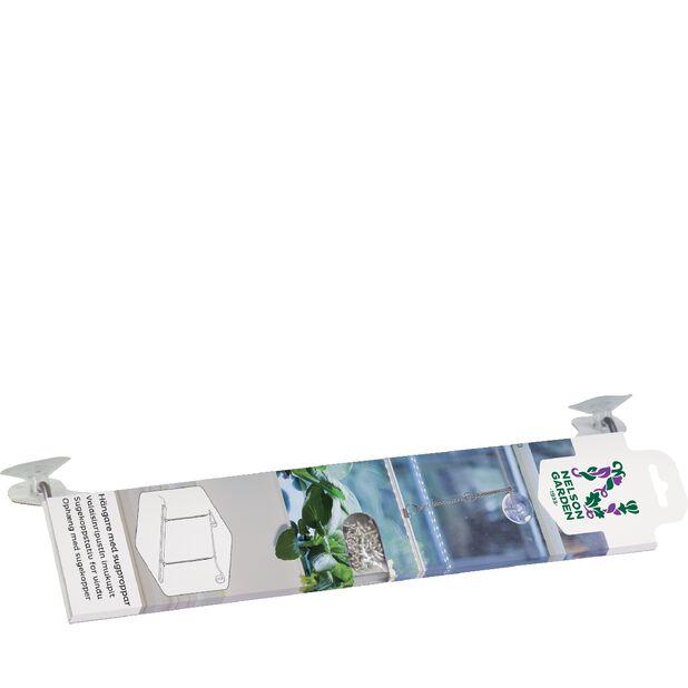 Sugekoppstativ for vindu, Lengde 40 cm, Hvit