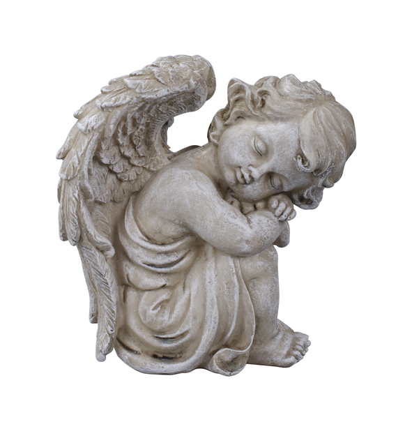 Sittende engel, Lengde 14 cm, Grå