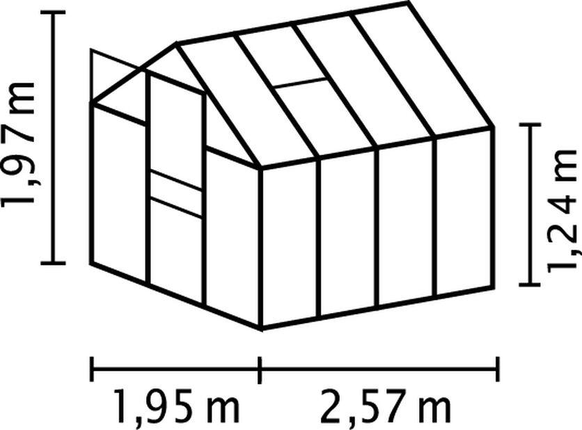 Drivhus Venus 5000, 5 m2, Grå