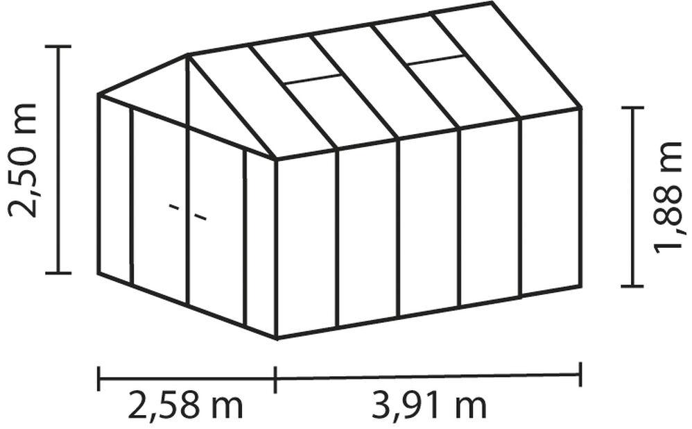 Drivhus Poseidon 10000, 10 m2, Svart