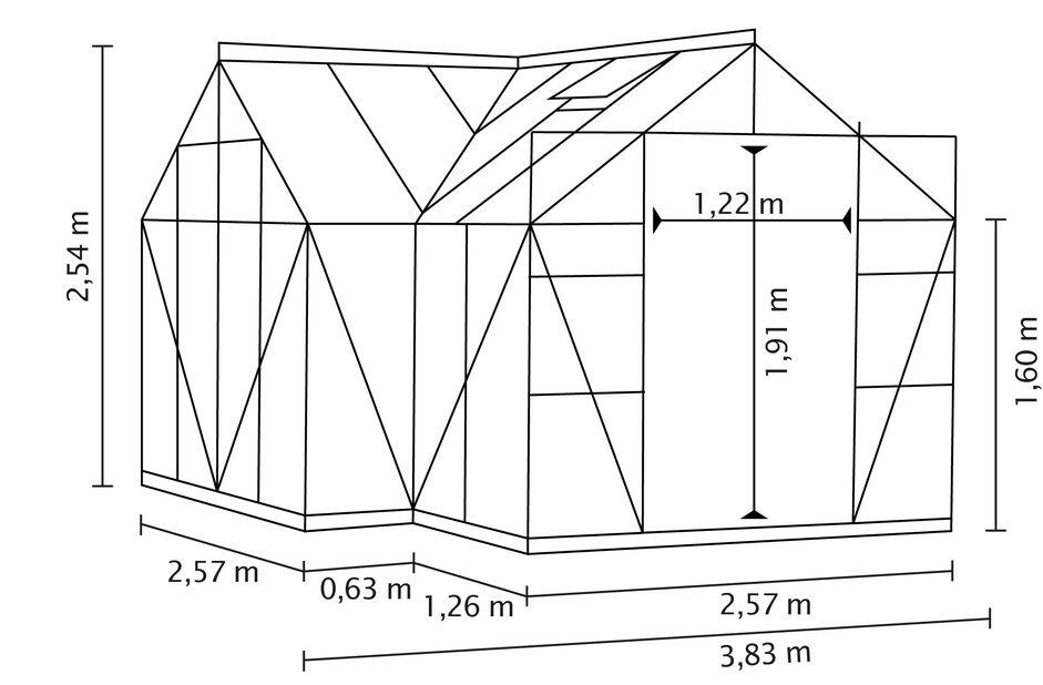 Drivhus Sirius, 13 m2, Svart