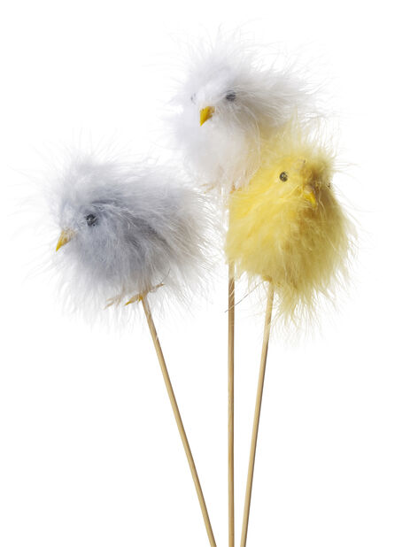 Kylling på pinne 3 ass, Høyde 20 cm, Flere farger